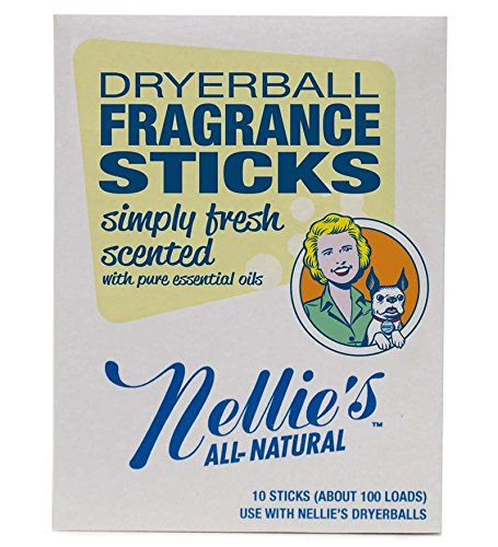 Nellie's All-Natural Dryer Balls Boxed Fragrance Stick, 10-pack in Simply Fresh (Nellies All Natural Dryer Balls)