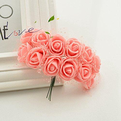 12pcs人工Foam Peach Rosesマルチカラーウェディングギフト装飾工芸 B077GT98NB