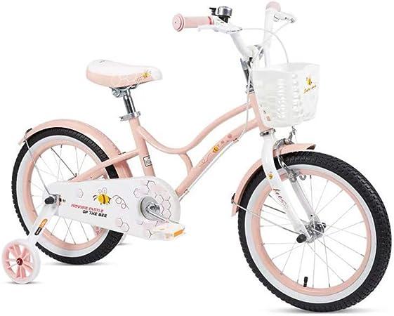 JIASHU Bicicleta para niños de 16 Pulgadas con Canasta y Ruedas de Entrenamiento para niñas y niños de 5-8 años, Marco de Acero de Alto Carbono, Piezas de plástico Verde, Rosa: Amazon.es: