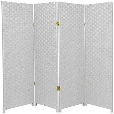 Oriental Furniture 4 ft. Tall Woven Fiber Room Divider - White - 4 Panel