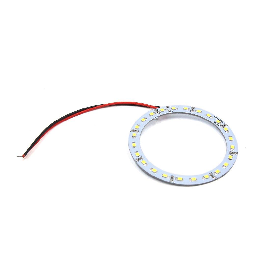 sourcing map 4pcs LED /Œil Ange 12V Blanc 80mm 24 SMD Anneau Halo Lumi/ère Lampe Voiture