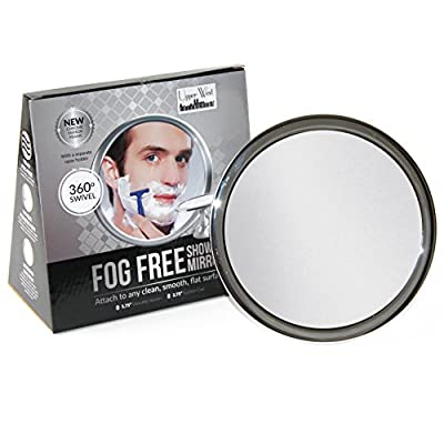 No Fog Shower Mirror with Rotating, Locking Suction | Adjustable Arm for Easy Positioning | Best Personal Mirror for Shaving You Will Ever Buy! Ideal Travel Mirror