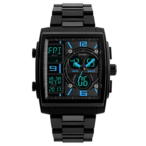 Mens Sport Watch Digital Military Wrist watch Square Analog Quartz Watches Electronic LED Watch (Mens El Analog Sport Watchs)