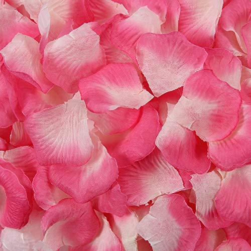 BESKIT 3000 Pieces Silk Rose Petals Unscented Non-Woven Artificial Flower Petals for Wedding Confetti Flower Girl Bridal Shower Hotel Home Party Valentine Day Flower Decoration (Pink&white)