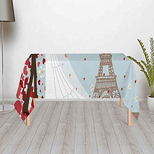Wedding Decorations Ultra Soft Satin Tablecloth,French Couple Hand Drawn Paris Eiffel Tower Getting Married Hearts for Home & Office & Restaurant Table Tea Table,60.24''W x 30.01''H