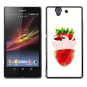 MobileHut / Sony Xperia Z L36H C6602 C6603 C6606 C6616 / Strawberry Burst Flavor Summer Red / Delgado Negro Plástico caso cubierta Shell Armor Funda Case Cover
