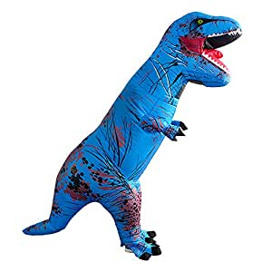 Wild Cheers Inflatable Costume Adult, Inflatable Dinosaur Costume, Fancy Dress, Blow Up T-Rex Costume for Party Gifts Halloween (Blue)