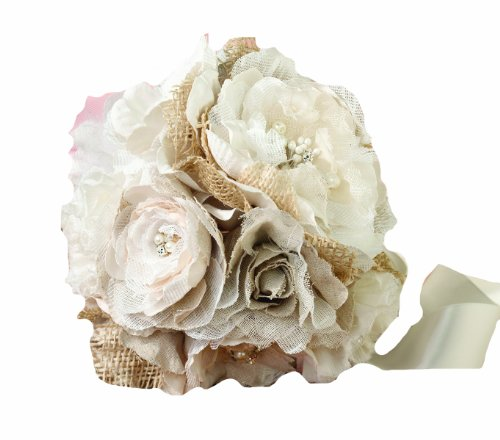 Lillian Rose Burlap and Flower Bouquet, 7.5-Inch