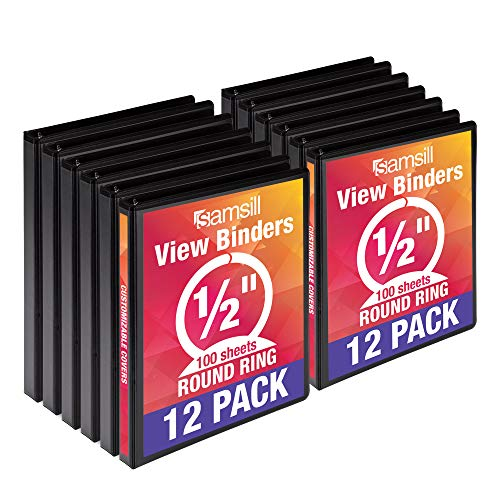 Samsill Economy 3 Ring View Binders, .5 Inch Round Ring, Customizable Clear View Cover, Black, Bulk Binders - 12 - Presentation 1/2 Binders