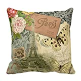 Vintage Eiffel Tower Paris France Travel collage Throw Pillows Case Square Canvas Accent Throw Cushion Cover