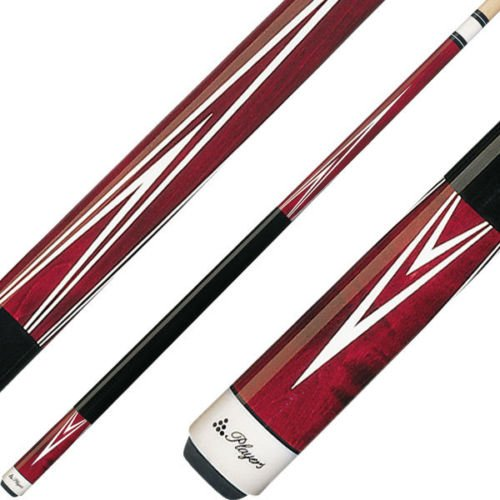 Players C-801 Classic Crimson Birds-Eye Maple with White Outline Points Cue, 21-Ounce -