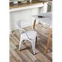 GIA Metal Dining Chairs with Back(SET 0F 2) - White - Tolix Style - Loft Appearance - Ready to Use - Weight Capacity 300+ Pounds - Extra Durable and Stackable