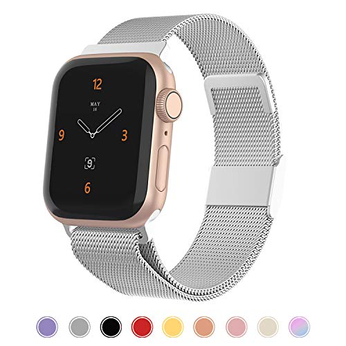 CCnutri Compatible with Apple Watch Band 42mm 44mm, Stainless Steel Loop Metal Mesh Bracelet with Adjustable Magnet Lock Wristbands for iWatch Series 1/2/3/4/5,Sliver