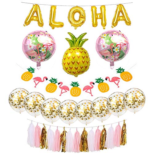 Hawaiian Party Decorations Pack for Beach Party - Aloha Party Decorations Banner, Gold Confetti Balloons (40)