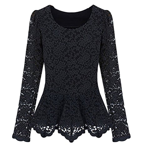 Women Round Neck Black Lace Full Lace Sleeve Top Lace Tunics Blouse Shirt, Black, Medium (Black Lace Tops For Women compare prices)
