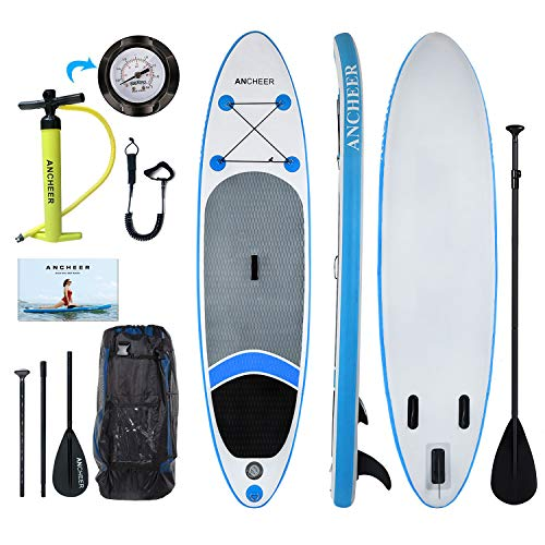 ANCHEER Inflatable Stand Up Paddle Board 10, Non-Slip Deck(6 Inches Thick), iSUP Boards Package w/Adjustable Paddle, Leash, Hand Pump and Backpack, Youth & Adult