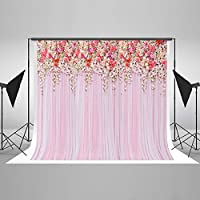 7x5ft Cotton Polyester Colorful Flowers Pink Lace Curtain Wedding Ceremony Photography Backdrop Seamless No Creases Folding and Washable Photo Booth Background