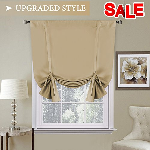 H.VERSAILTEX Thermal Insulated Adjustable Tie Up Shade/Blackout Curtain with Rod Pocket Top - 42