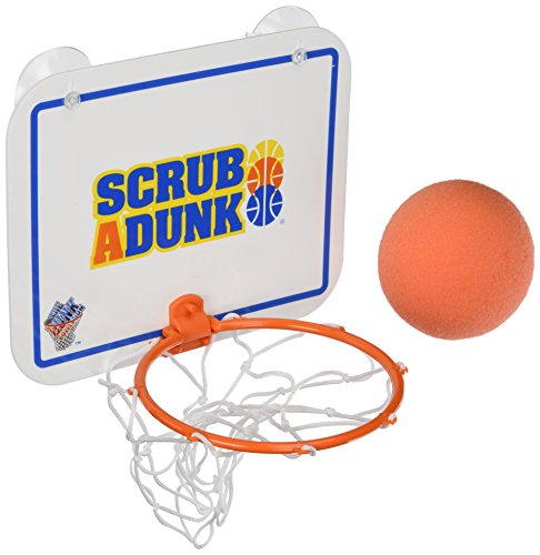 Bath Basketball - The Dunk Collection Scrub-A-Dunk-The Bathtub Basketball Hoop for Baby Ballers, Blue/Orange, Standard