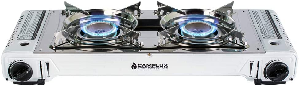 CAMPLUX ENJOY OUTDOOR LIFE Camplux Portable Camping Butane Gas Stove Twin Burner with Carrying Case, Stainless Steel White