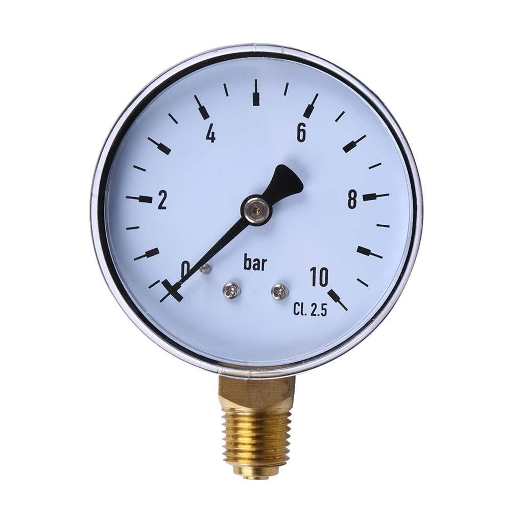 Bodbii 60mm Dial 0-10bar NPT Gewinde-Einfassungs-Manometer Kraftstoff Luft Ö l Wasserdruck Werkzeuge Manometer Mess