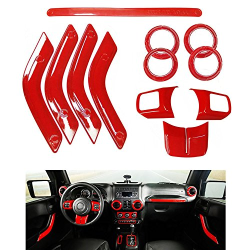 MOEBULB Interior Mouldings 12pcs Full Set Interior Decoration Trim Kit for Jeep Wrangler 4 Door 2011-2015 (12pcs/set, Red)