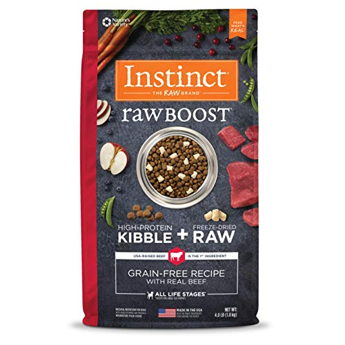 Instinct Raw Boost Grain Free Recipe with Real Beef Natural Dry Dog Food by Nature's Variety, 4 lb. Bag (Natures Variety Instinct Raw Dog Food Reviews)