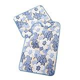Transer Coral Velvet Soft Non Slip Bathroom Shower Mat Toilet Floor Rug Carpet Pad 2pcs (Sky Blue)