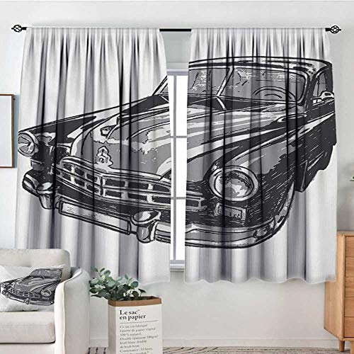All of better Cars Blackout Window Curtain Hand Drawn Vintage Vehicle with Detailed Front Part Hood Lamps Rear View Mirror Customized Curtains 55