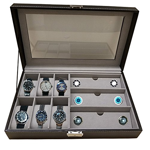 Holiday Gift Watch Box Accessories Holder Black Faux Leather Holds 6 Watches And 3 pairs of sunglasses & - Watches Hut