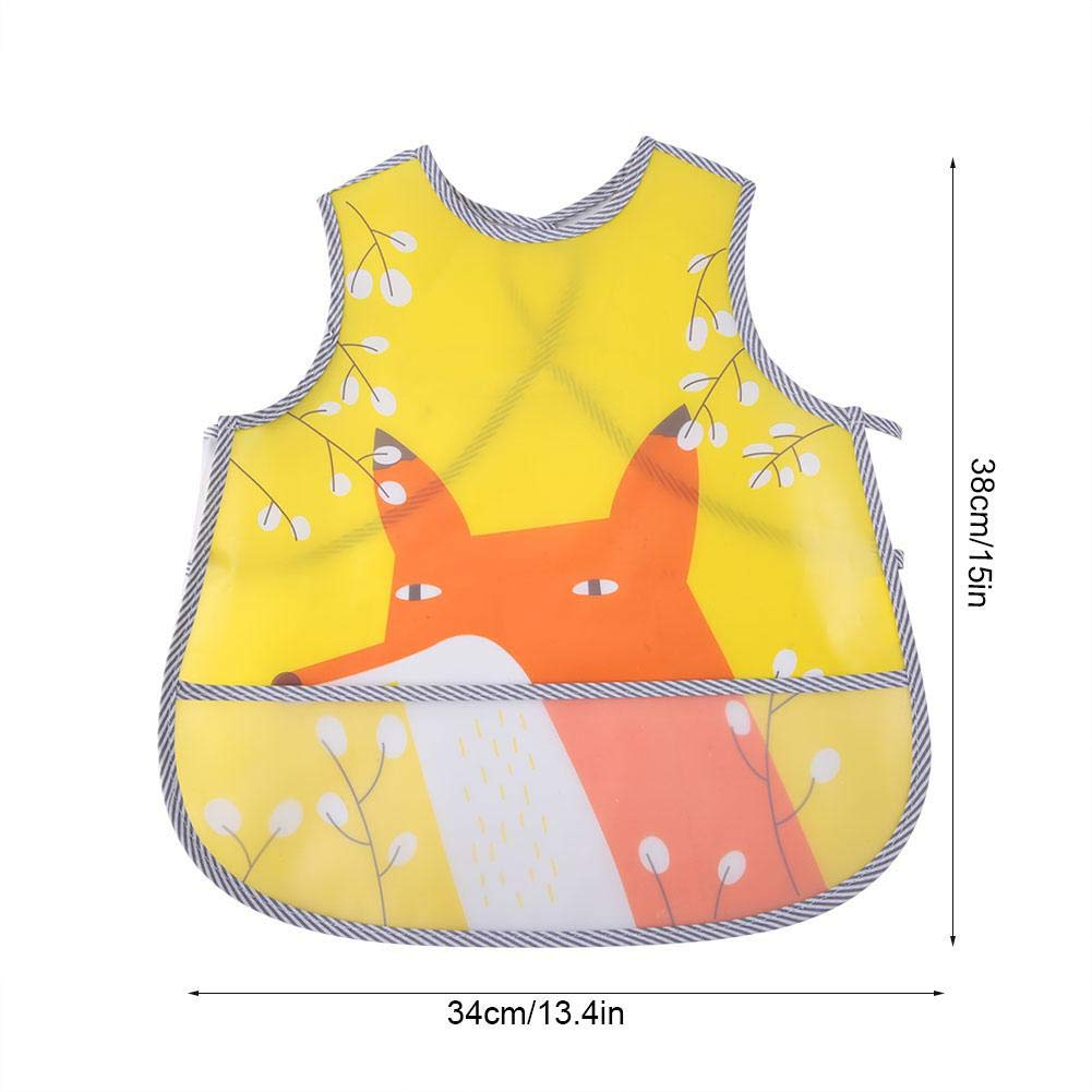 2# EVA Waterproof Overclothes Feeding Bib for Kids Cute Cartoon Nylon Thin Baby Feeding Apron Soft Lunch Eating Baby Bib for 1-3 Years Old Feeding No Wash