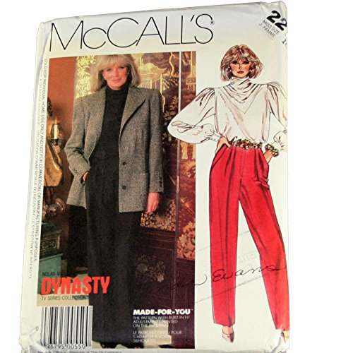 McCall's 2270 Sewing Pattern Nolan Miller Dynasty TV Series Misses Jacket,Blouse & Pants Size 10 ()