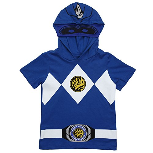 Power Rangers Hooded Youth Costume T-Shirt - Blue (10/12) (Blue Power Ranger Costume)