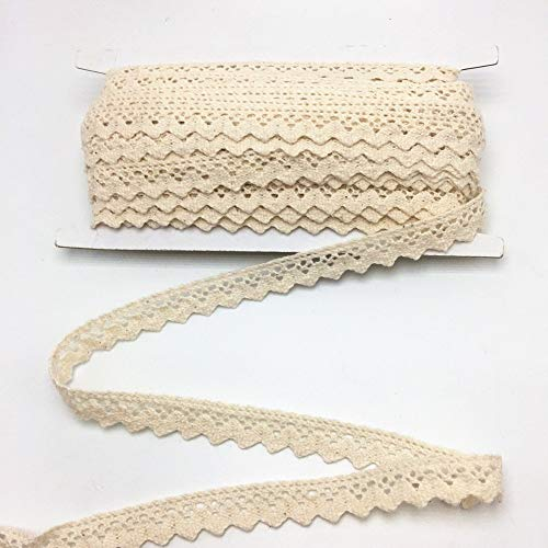 ELLAMAMA Cotton Lace Trim DIY Craft Delicate Ribbon Scallop Edge 1/2 Inch Wide 10 Yards for Scrapbooking Gift Package Wrapping, Beige Color
