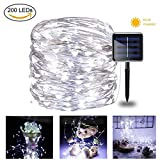 MaLivent Solar String Lights, 66Ft 200 LEDs Silver Wire Lights, Outdoor Indoor Waterproof Solar Powered Starry String Lights for Patio Garden Backyard Wedding Party Home Decorative Ornaments (White)