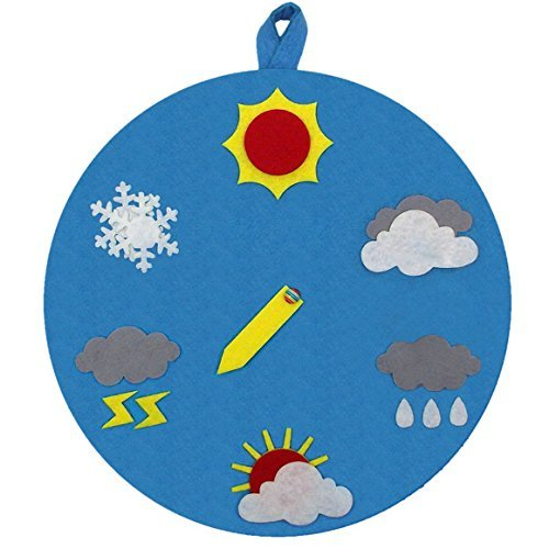Round Weather Pattern Cognition Dial Educational Learning Toy Tool for Perschool Toddlers - Rosy