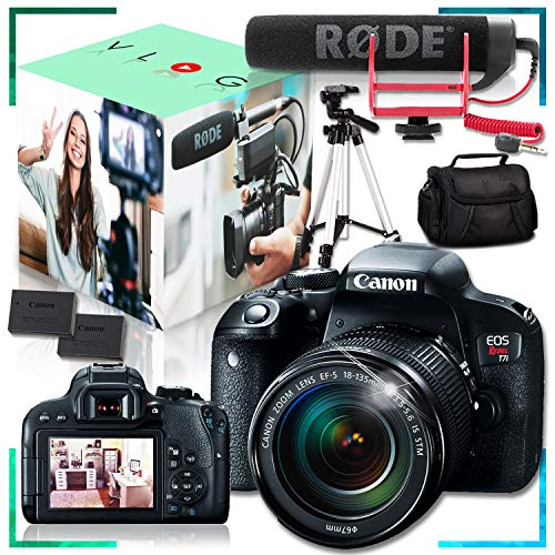 Canon EOS Rebel T7i DSLR Camera with 18-135mm f/3.5-5.6 is STM Lens, Rode VideoMic GO Lightweight Microphone, Tripod, Extra Battery and Padded Case