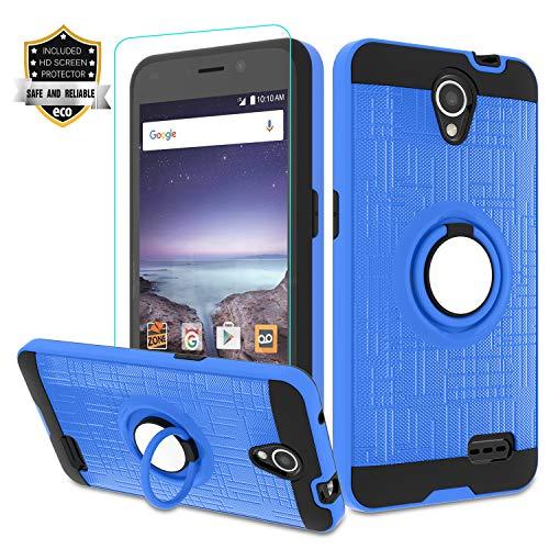 Maven 2 Z831/ ZFive 2/ Sonata 3/ Avid Trio Z833/ Avid Plus Z828/ Prestige N9132/ Prestige 2 Case with HD Screen Protector,Atump Ring Holder Kickstand Phone Case for N9136 Blue