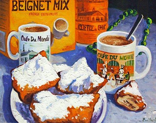 (Cafe Du Monde Biegnet Mix New Orleans Baltas Matted Art Print French Quarter)