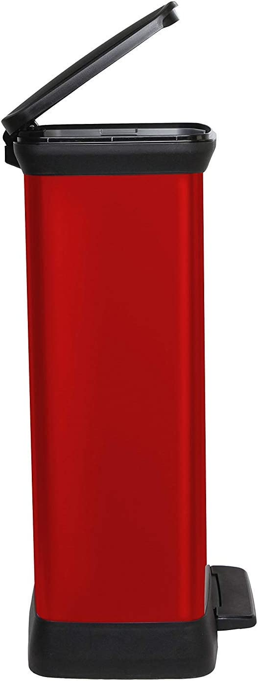 met/álico 50 L, Polipropileno, Metal, 39 x 29 x 73 cm Polipropileno CURVER 187177 50 L Cubo de Basura con Pedal