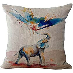 Elephant Printed Cushion Cover LivebyCare Linen Cotton Cover Throw Pillow Case Sham Pattern Zipper Pillowslip Pillowcase For Study Room Sofa Couch Chair Back Seat