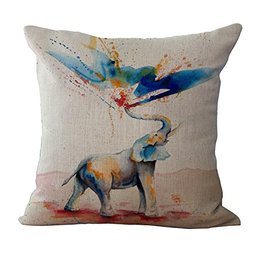 Elephant Printed Cushion Cover LivebyCare Linen Cotton Cover Throw Pillow Case Sham Pattern Zipper Pillowslip Pillowcase For Study Room Sofa Couch Chair Back Seat (Bed Pillows Choosing For)