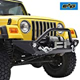 EAG 51-0034L Black Front Heavy Duty Rock Crawler Bumper with LED (Jeep Wrangler YJ/TJ)
