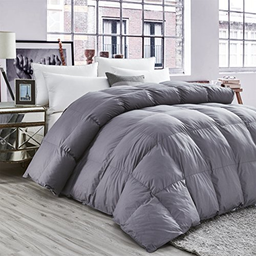 (LUXURIOUS All-Season Goose Down Comforter King Size Duvet Insert, Classic Gray, Premium Baffle Box, 1200 Thread Count 100% Egyptian Cotton Cover, 750+ Fill Power, 65 oz Fill Weight (King, Gray))