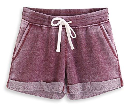 HARBETH Women's Juniors Cotton Slim Fit Stretch Activewear Casual Lounge Shorts Burnout Wine M