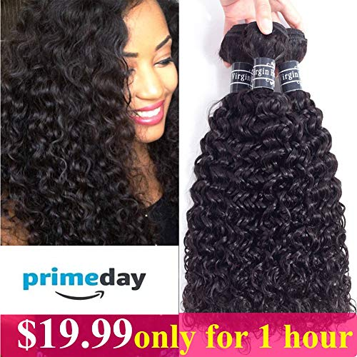 Amella Hair Brazilian Curly Hair Weave 3 Bundles (14 16 18,300g) Brazilian Virgin Kinky Curly Human Hair Weave 8A 100% Unprocessed Hair Weft Extensions Natural Black Color (Best Kinky Curly Hair)