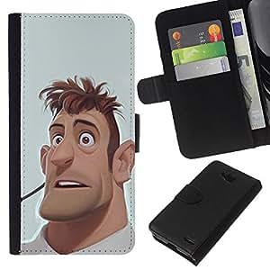 EJOY---La carpeta del tirón la caja de cuero de alta calidad de la PU Caso protector / LG OPTIMUS L90 / --hombre cgi retrato gráficos por ordenador