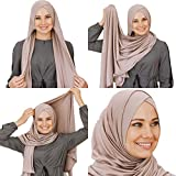 Cotton head scarf, instant hijab, ready to wear muslim accessories for women (Latte)
