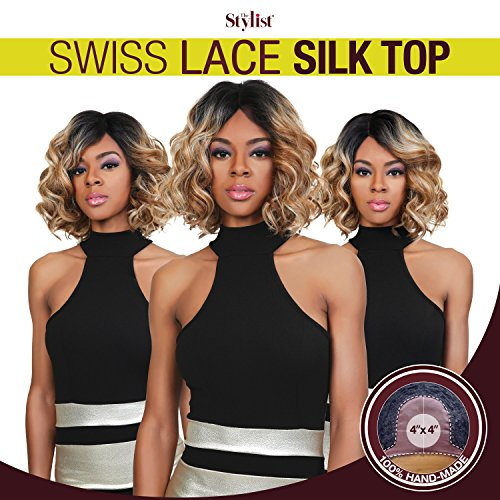 The Stylist Synthetic Lace Front Wig Swiss Lace Silk Top Curly Bob ()