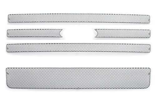 GrillCraft F1207-08S MX Series Silver Upper 4pc & Lower 1pc Mesh Grill Grille Insert for Ford Expedition (Ford Expedition Grille Insert)